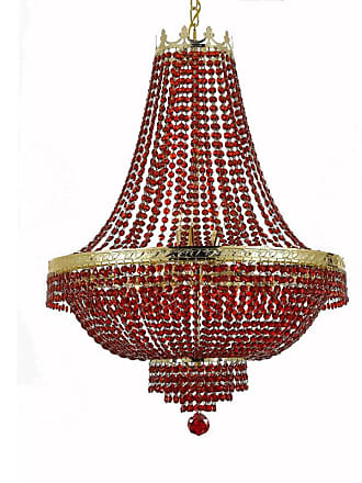Gallery T22-2257 9 Light 24 Wide Crystal Empire Chandelier with Red