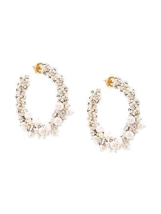 Oscar De La Renta beaded pearl hoop earrings - White