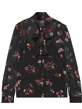df329801c93446 Red Valentino Redvalentino Woman Pussy-bow Printed Stretch-silk Chiffon  Blouse Black Size 40