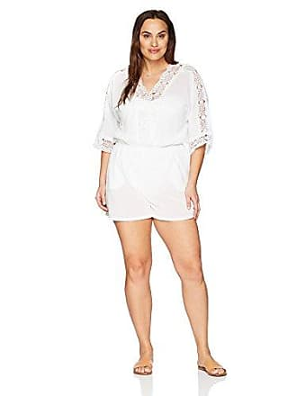 La Blanca Womens Plus Size V-Neck Lace Romper Cover Up Dress, White/Island Fare Print, 2X