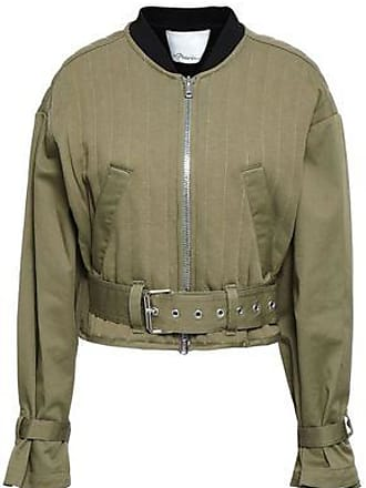 3.1 Phillip Lim 3.1 Phillip Lim Woman Cropped Quilted Cotton-gabardine Bomber Jacket Army Green Size L