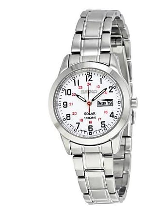 Seiko Solar White Dial Stainless Steel Ladies Watch SUT167