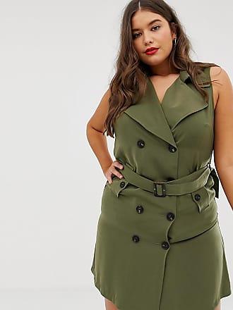 Vero Moda Curve double breasted utility blazer dress - Green