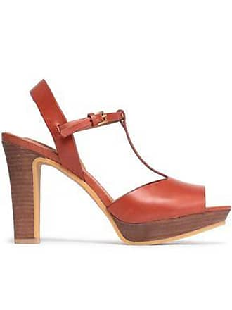 See By Chloé See By Chloé Woman Leather Platform Sandals Brick Size 37