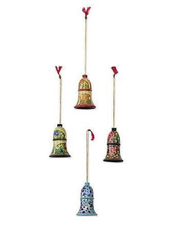 Novica Decorative Floral Hanging Holiday Harmony (Set of 4) Wood Ornaments