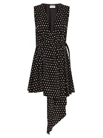 a9d53c30e10f Saint Laurent Tie Neck Polka Dot Print Dress - Womens - Black White