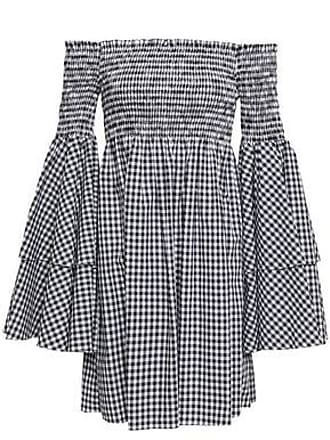 c52f42b9da5772 Caroline Constas Caroline Constas Woman Off-the-shoulder Shirred Gingham  Cotton Mini Dress Black