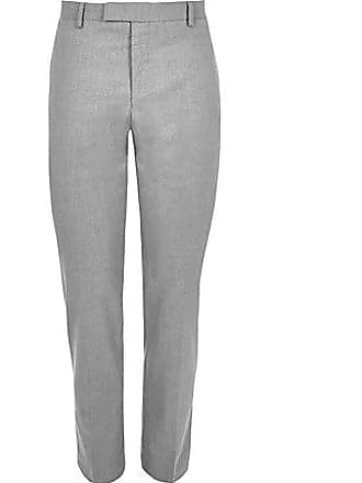 River Island Mens Big and Tall grey textured suit pants