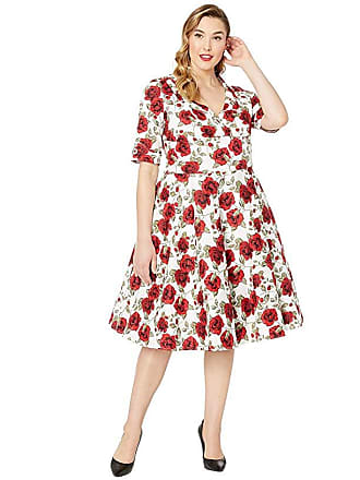 156a74d33 Unique Vintage Plus Size 1950s Delores Swing Dress with Sleeves (White/Red  Roses Print
