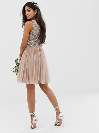 789d859d2b09 Maya Bridesmaid sleeveless mini tulle dress with tonal delicate sequin  overlay in taupe blush - Brown