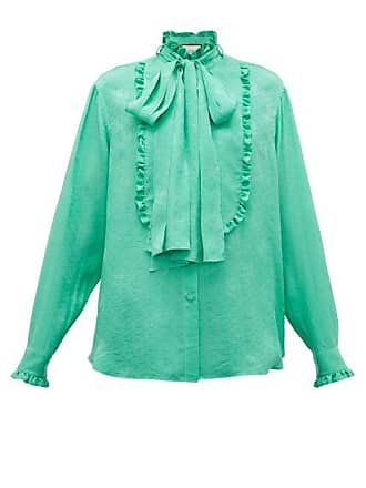 3f135a1b9 Gucci Ruffled Floral Jacquard Silk Pussybow Blouse - Womens - Green