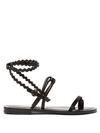 ÁLVARO GONZÁLEZ Anna Zigzag Strap Leather Sandals - Womens - Black