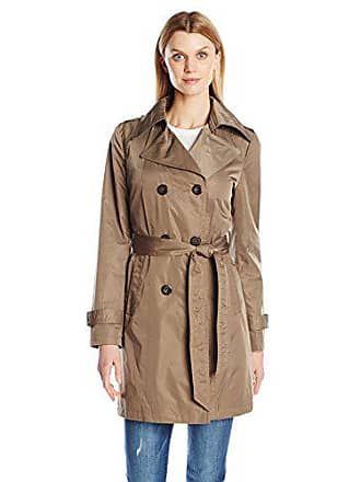 Ellen Tracy Outerwear Womens Doublebreasted Techno Trench Coat, Basil, Large