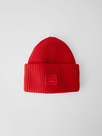 Acne Studios Pansy Face Tomato Red Ribbed beanie hat