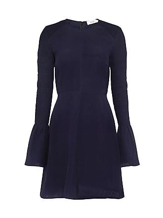 5f7713d4bc29 A.L.C. Alexa Smocked Bell Sleeve Silk Mini Dress Navy