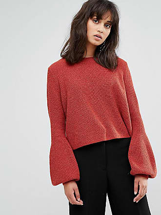 Weekday Crop Knit Sweater with Balloon Sleeve - Red