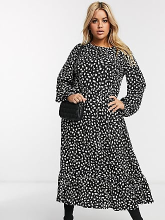 Missguided ruffle hem midi smock dress in polka dot print-Black