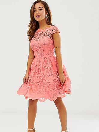 2be314b433f73 Chi Chi London Petite premium lace mini dress with scalloped neck in coral