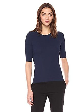 Theory Womens Short Sleeve TECH Rib Crewneck Sweater, Navy, P
