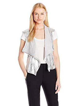 Jones New York Womens Metallic Faux Suede Drapey Vest, Silver Combo XS