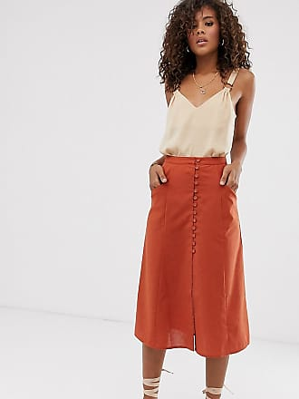 caf19d11d Asos Tall ASOS DESIGN Tall button front midi skirt - Red