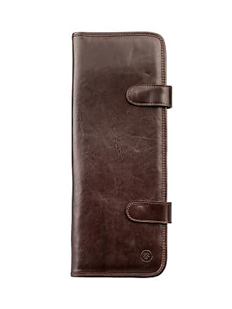 Maxwell Scott Maxwell Scott - Luxury Dark Brown Italian Leather Tie Holder (Tivoli)
