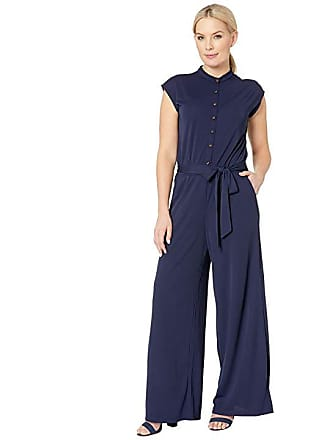 86cd8c64fa85 Ralph Lauren Petite Buttoned Jersey Jumpsuit (Navy) Womens Jumpsuit   Rompers  One Piece