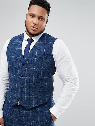 Asos Chaleco de traje de corte slim de 100% lana y tweed Harris azul a 683f32fa9b98