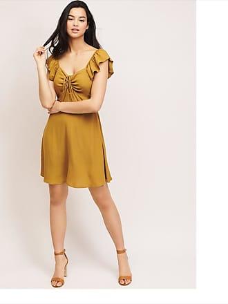 Dynamite Flutter Sleeve Dress Golden Brown