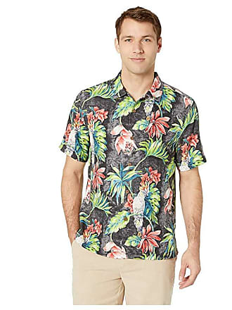 3544048b Tommy Bahama Tahitian Tweets Hawaiian Camp Shirt (Black) Mens Clothing