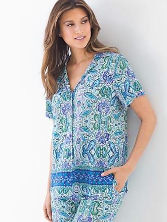 Soma Cool Nights Short Sleeve Notch Collar Pajama Top Folklore Bdr Royal, Size M