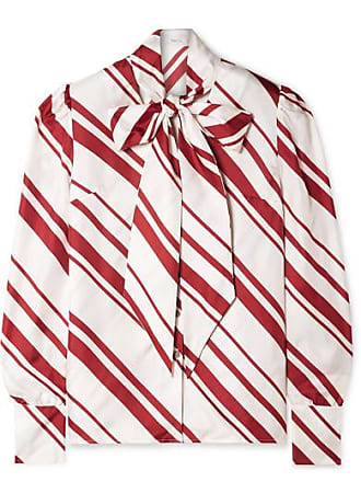Racil Agata Pussy-bow Striped Silk-twill Blouse - White