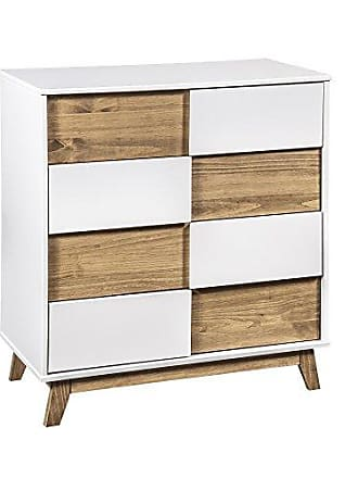 Manhattan Comfort CS92708 Livonia Large Midcentury Bedroom Dresser White/Natural