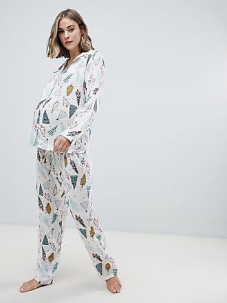ae39c894b2251 Asos Maternity ASOS DESIGN Maternity christmas tree traditional shirt and pants  pyjama set in 100%
