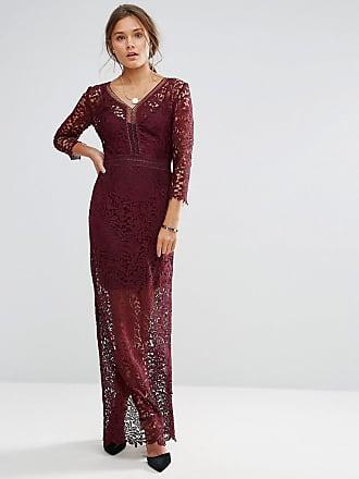 Little Mistress Long Sleeve Lace Maxi Dress - Red