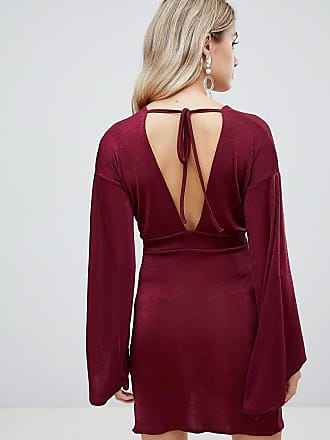 254da2486f Missguided slinky flared sleeve mini dress in burgundy - Red