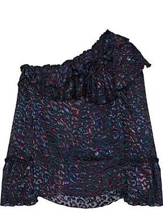 Iro Iro Woman One-shoulder Printed Devoré-chiffon Blouse Indigo Size 40