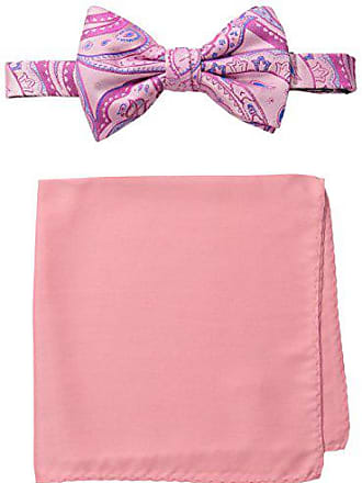 Steve Harvey Mens Paisley Woven Bowtie and Solid Pocket Square, Pink, One Size