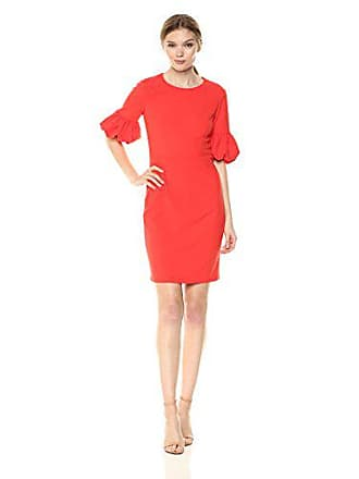 466545e2 Donna Morgan Womens Short Bubble Sleeve Sheath Dress, Scarlet red, 12