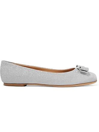 Salvatore Ferragamo Varina Bow-embellished Glittered Leather Ballet Flats - Silver