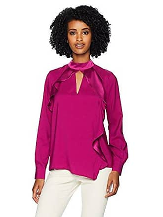 Parker Womens Cianni Long Sleeve Asymmetrical Ruffle Blouse, deep Plum, XS