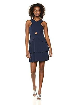Bcbgmaxazria BCBGMax Azria Womens Pleated Cutout Peplum Dress, Dark Navy, 6