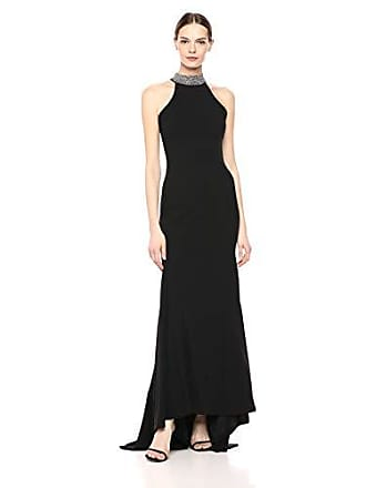 Calvin Klein Womens Sleeveless Mock Neck Halter Gown, Black, 6