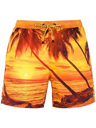 HUGO BOSS Bermuda de praia estampada - Amarelo