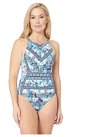 a29727bc5f Tommy Bahama Aqua Petals High Neck One-Piece (White) Womens Swimsuits One  Piece