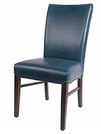 New Pacific Direct Milton Bonded Leather Chair,Brown Legs,Vintage Blue,Set of 2
