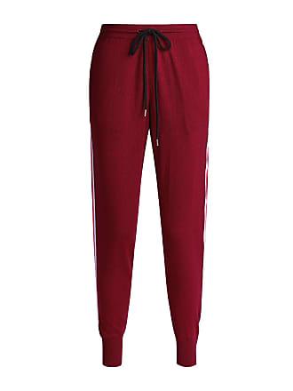 Markus Lupfer Wool Stripe Knitted Track Pants Burgundy