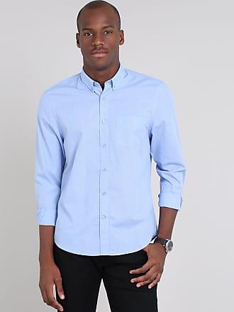 3578549db0 C&A Camisa Masculina Comfort Estampada Mini Print Xadrez com Bolso Manga  Longa Azul Claro