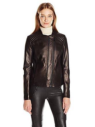 0989109c5c9b T Tahari Womens Kirsten Fitted Leather Jacket, Black, XL. USD $249.99