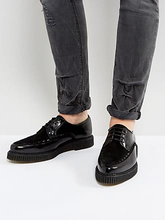 Asos ASOS Lace Up Shoes In Black Leather With Creeper Sole - Black